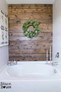 Bathroom Wood Accent Wall - Bless'er House