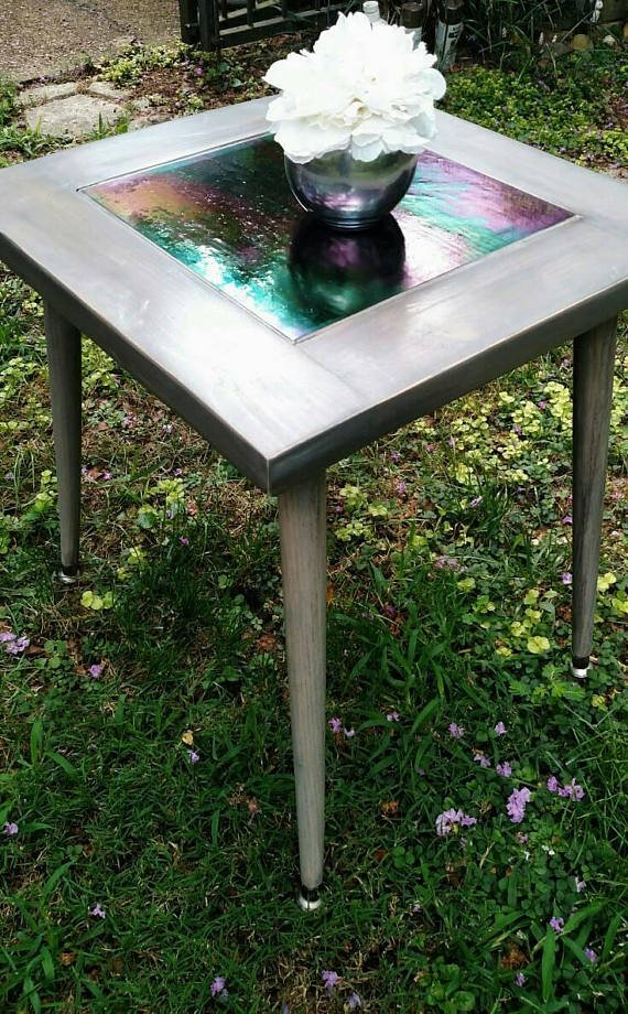Distressed Barn Wood Side Table with Iridescent Blue Glass Center - Trays and Tables