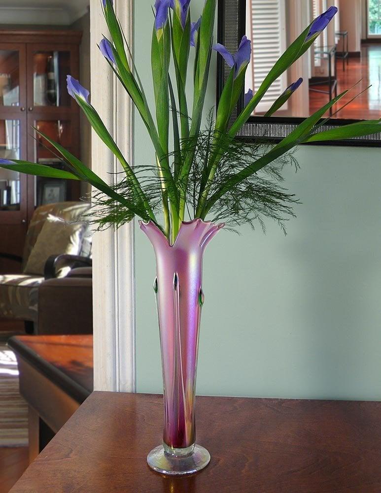 Hand Blown Iridescent Glass Vase in Pink Blush - Modern Artisans