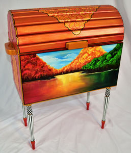 Iridescent Orange Trunk with Hand Painted Mural - Vibrant Life Art Studio