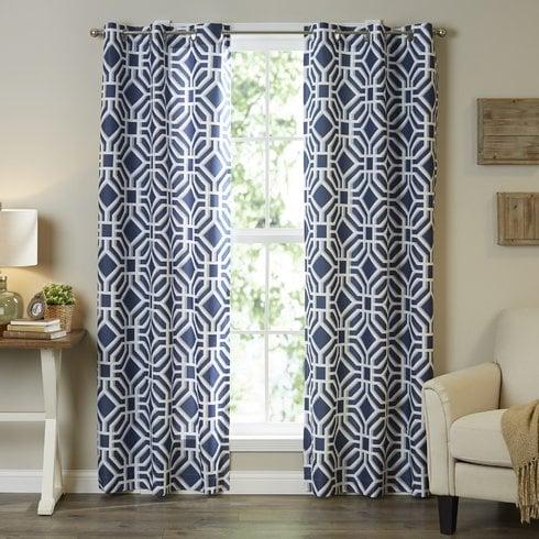 Keilen Geometric Semi-sheer Single Curtain Panel - Beachcrest Home