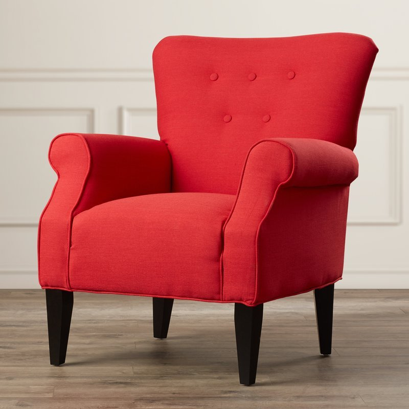 Lyssandra Tufted Arm Chair in Lipstick Red