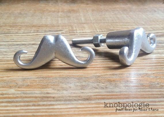 Metallic Mustache Dresser Knob - Knobpologie