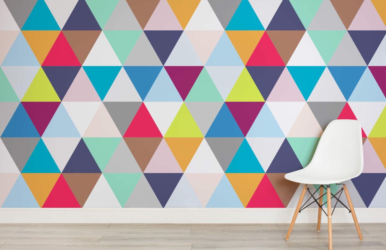 Multicoloured Triangles Geometric Wallpaper - Murals Wallpaper