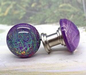 Purple-blue Iridescent Cabinet Knobs - Knucklehead Knobs