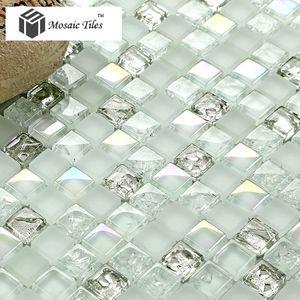 Silver Diamond Waterdrops Inner Crackle Design - Mosaic Tiles