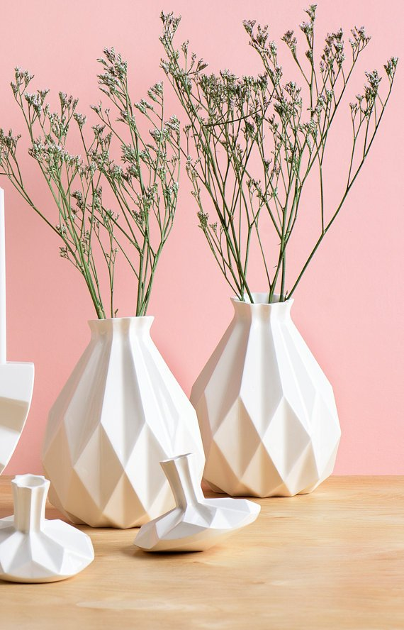 White Geometric Vase - StudioArmadillo
