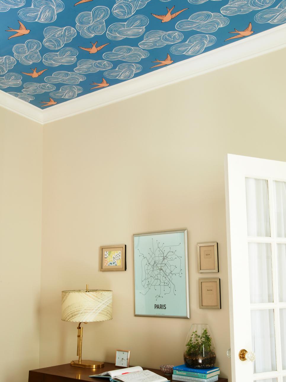 hgtv-bird-wallpaper-on-ceiling