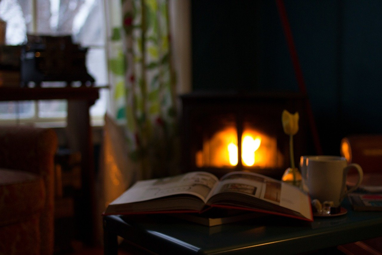 fireplace-and-book