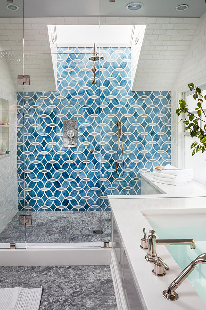 Geometric Blue Walk-in Shower - Massucco Warner Miller Interior Design