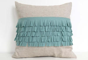 Felt Fringe Pillow in Seafoam Turquoise and Oatmeal Cotton-Linen - Cheeky Monkey Home