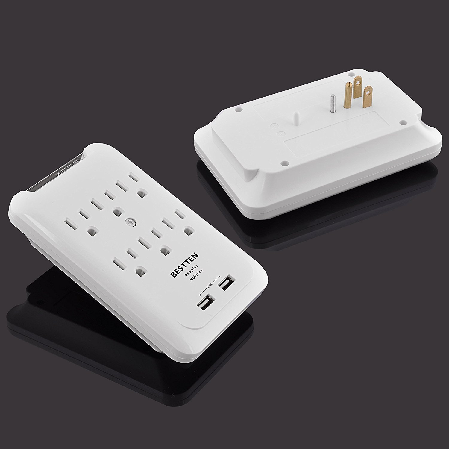 Bestten 6-Outlet Surge Protector Wall Mount Adapter with 2 USB Charging Ports