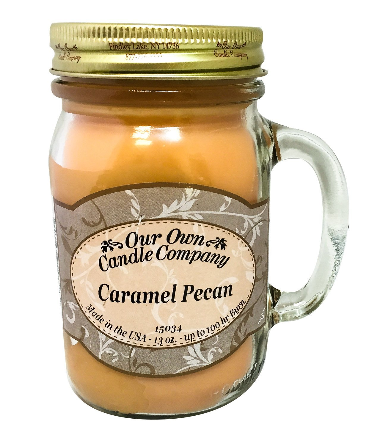 Caramel Pecan Scented 13 Ounce Mason Jar Candle By Our Own Candle Company