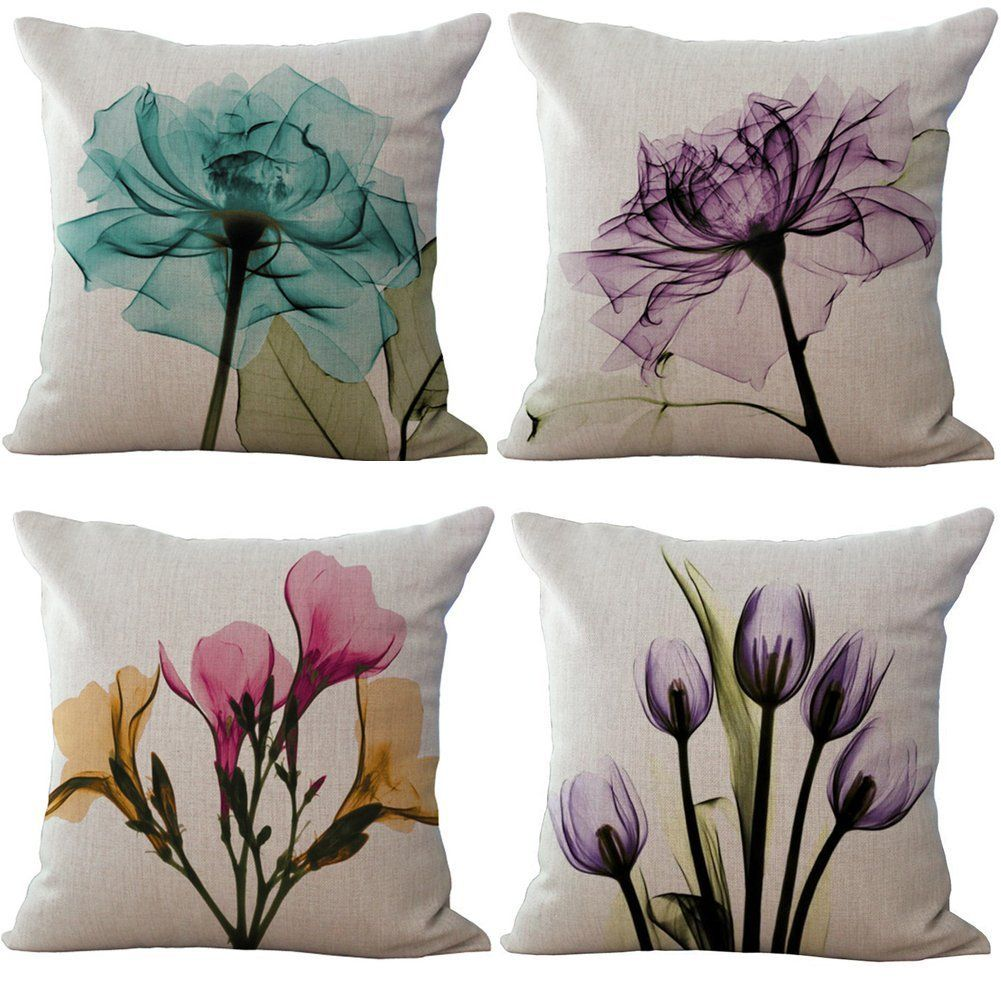 Beautiful Flowers - 18in x 18in - Cotton Linen Pillow Covers by RwalkinZ