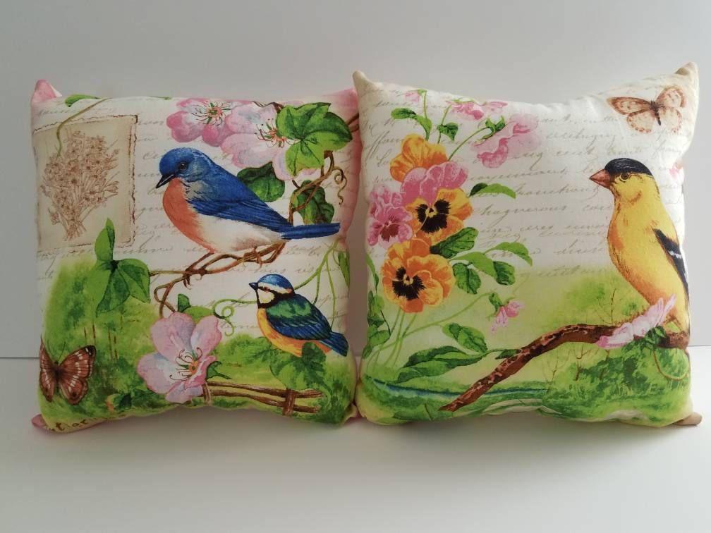 Bluebird and Goldfinch Pillows - 11in x 11in - ThymeInTheGardenShop