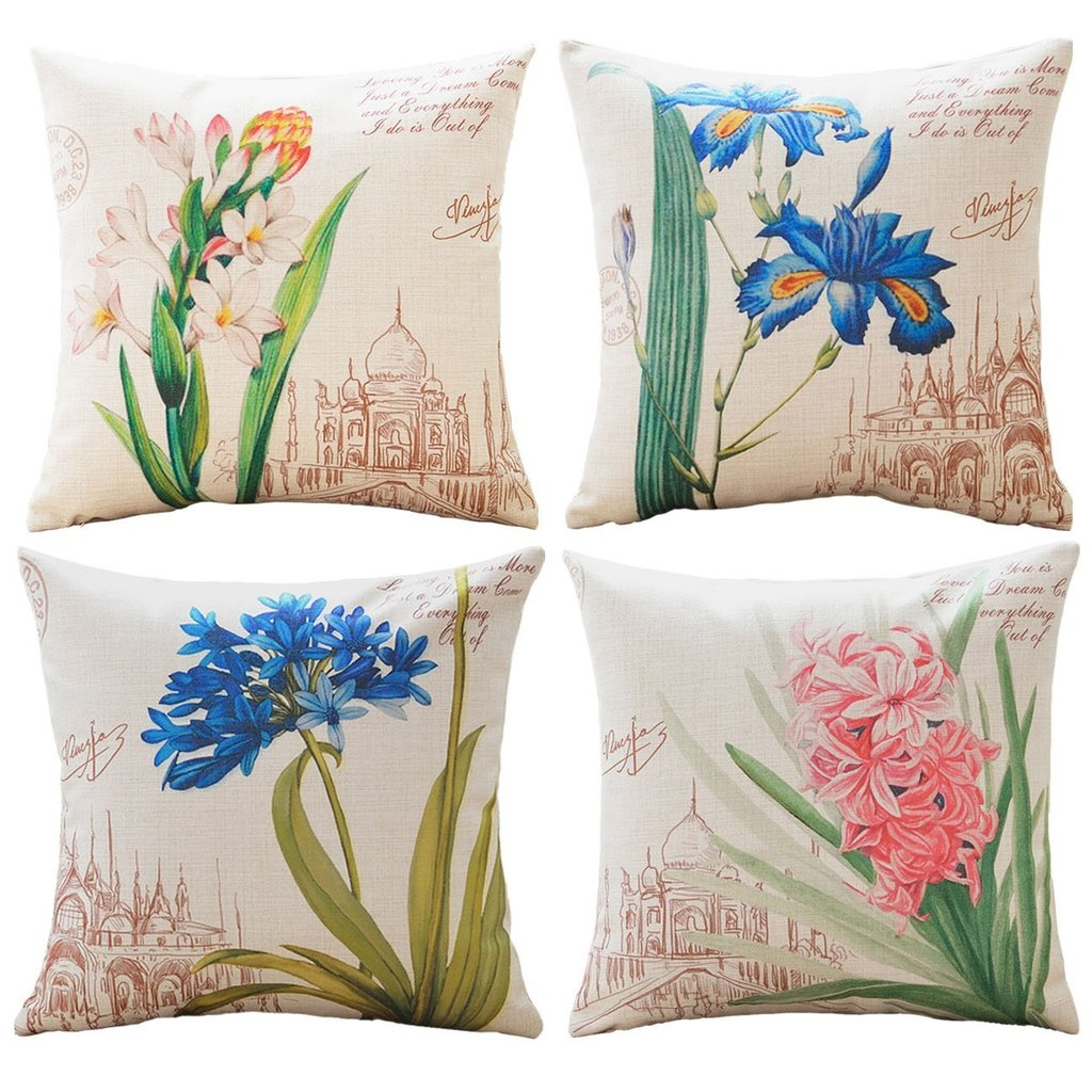 Flower Printing - 18in x 18in - Sykting Cotton Linen Throw Pillow Covers Set