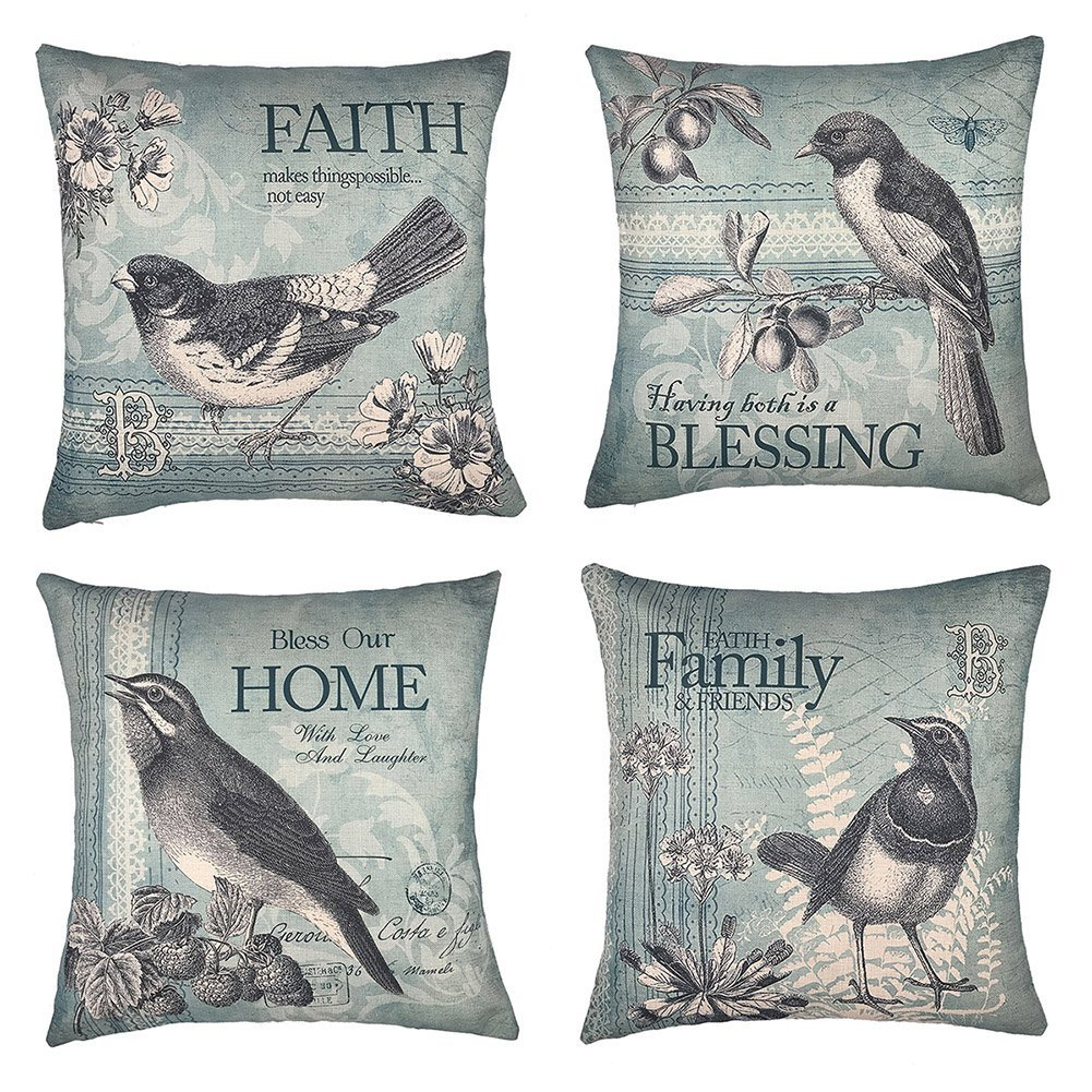 Vintage Spring Birds - 18in x 18in - Cotton Linen Pillow Covers by Micropillow