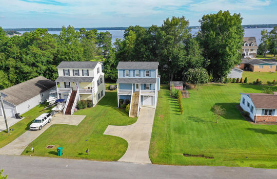 Aerial of 613 Canady Road and Water