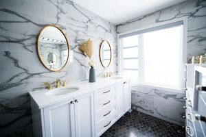 Bright Marble and Gold Bathroom