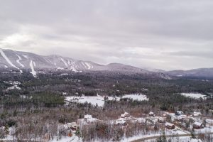 Aerial view of Peaks Village and Sunday River