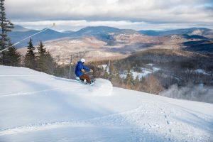 Snowboarder on Spruce Peak