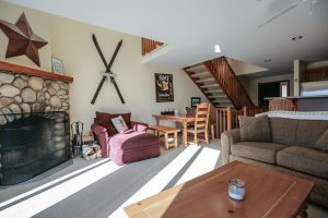 Condo with large fireplace