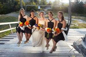 Wedding party on chairlift