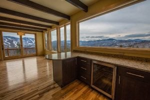 Kitchen and dining area with mountain views