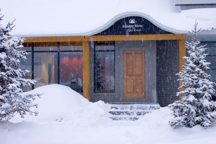 Sunday River Real Estate office in the snow
