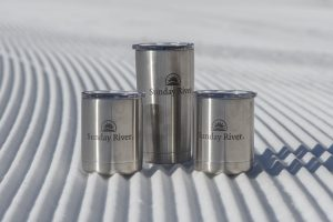 Metal tumblers with Sunday River logo