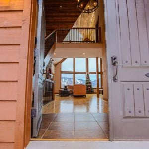 Ski home entry way with slope views