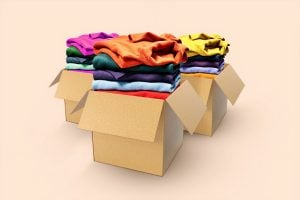 Boxes of clothes to donate