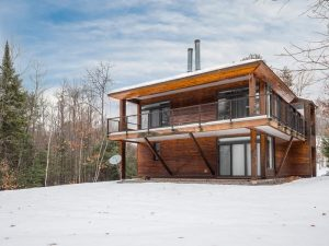 Exterior of modern mountain home