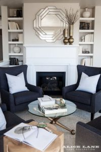 Living room with blue accent walls