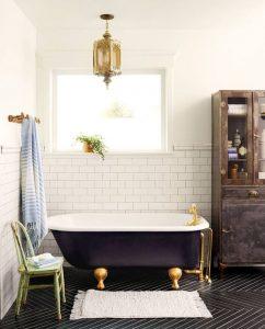 Bathroom with blue tub