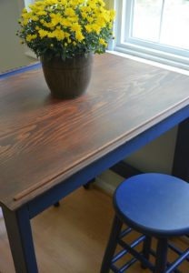 Kitchen table with blue stools