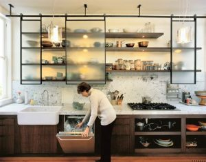 Open cabinets in a modern kitchen
