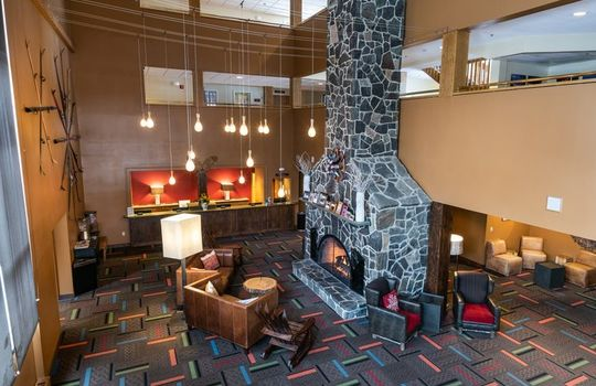 Grand Summit Hotel lobby and fireplace