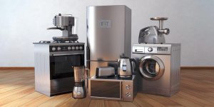 Appliances on hardwood floor